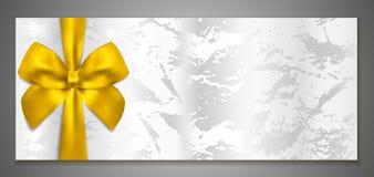 Boleto de plata, vale/plantilla del vector del vale de regalo con el arco del oro stock de ilustración