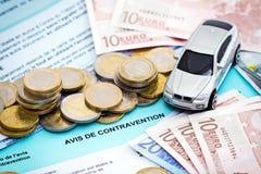 Boleto de tráfico de coche de los euros Fotografía de archivo