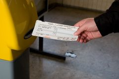 Boleto de tren Imágenes de archivo libres de regalías