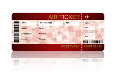 Boleto del documento de embarque de la línea aérea de la Navidad aislado sobre blanco Fotografía de archivo libre de regalías