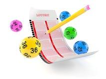 Boleto en blanco de la lotería con las bolas de la loteria Imagen de archivo