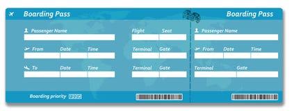 Boleto en blanco del documento de embarque de la línea aérea Imagen de archivo libre de regalías