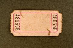 Boleto en blanco manchado de la admisión Imagen de archivo libre de regalías