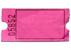 Boleto en blanco rosado colorido de la admisión. Foto de archivo
