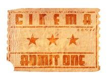 Boleto envejecido del cine Fotos de archivo