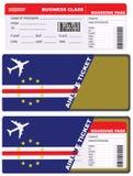 Boleto plano en vuelo de la clase de negocios a Cabo Verde stock de ilustración
