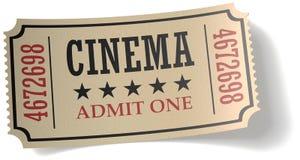 Boleto retro del cine con la sombra Fotos de archivo libres de regalías