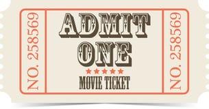 Boleto retro del vector de la película Foto de archivo libre de regalías