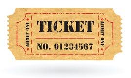 Boleto viejo del papel de la vendimia del vector con número Foto de archivo