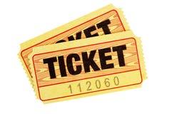 Boletos amarillos de la admisión Imágenes de archivo libres de regalías