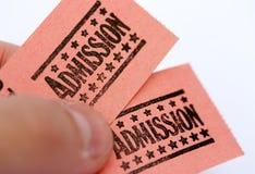 Boletos de la admisión Imágenes de archivo libres de regalías