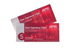 Boletos de plata del cine del AMC de la experiencia Imagen de archivo libre de regalías