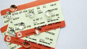 Boletos de tren BRITÁNICOS costosos Fotografía de archivo libre de regalías