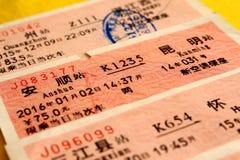 Boletos de tren chinos Fotos de archivo libres de regalías