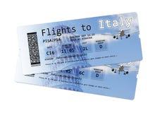 Boletos del documento de embarque de la línea aérea a Italia Imágenes de archivo libres de regalías