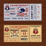 Boletos del vintage al béisbol y al softball del campeonato Imagen de archivo