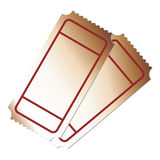 Boletos en blanco Imagen de archivo libre de regalías