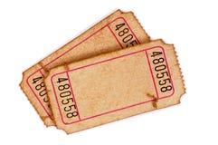 Boletos en blanco manchados de la admisión Fotos de archivo