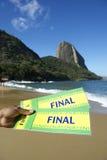 Boletos finales del Brasil en la playa roja Sugarloaf Rio de Janeiro foto de archivo libre de regalías