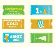 Boletos retros azules y amarillos de la Navidad del cine Foto de archivo