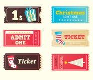 Boletos retros azules y rojos de la Navidad del cine Fotografía de archivo