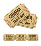 Boletos viejos del cine para el cine Foto de archivo libre de regalías