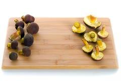 Boletus badius mushrooms for cooking. Boletus badius mushrooms on the cutting board Stock Photography