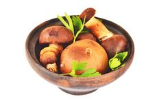 Boletus edulis mushroom in vintage clay bowl Stock Photo