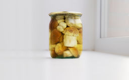 Boletus mushrooms in a glass jar Royalty Free Stock Image