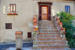 Bolgheri House, Tuscany, Italy, March 2007. A typical house facade in the small town of Bolgheri Stock Photos