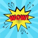 Bolha amarela do discurso com palavra do wow no fundo azul Efeitos sadios c?micos no estilo do pop art Ilustra??o do vetor ilustração royalty free