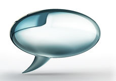 Bolha azul da conversa com sombra no backgound branco fotos de stock