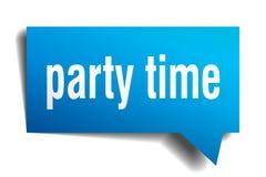 Bolha azul do discurso 3d do tempo do partido Imagem de Stock Royalty Free