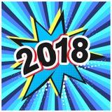Bolha cômica brilhante do discurso com data 2018 Fotografia de Stock Royalty Free
