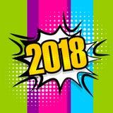 Bolha 2018 cômica do discurso do texto do pop art ilustração stock