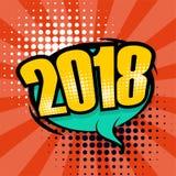 Bolha 2018 cômica do discurso do texto do pop art ilustração do vetor