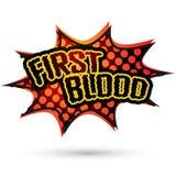 Bolha cômica do discurso do primeiro sangue Vetor Imagens de Stock Royalty Free