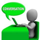 A bolha da conversação mostra a rendição das comunicações globais 3d ilustração stock