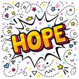 Bolha da palavra da esperança Mensagem no estilo cômico do pop art ilustração stock