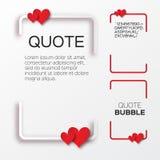 Bolha das citações com corações Bolha do discurso do Valentim Fotografia de Stock