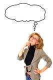 Bolha de With Blank Thought da mulher de negócios Imagem de Stock Royalty Free