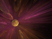 Bolha de brilho alaranjada vermelha do fractal abstrato Fotografia de Stock