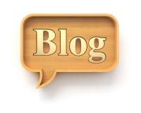Bolha de madeira do discurso do blogue ilustração stock