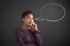 Bolha de pensamento do pensamento da mulher afro-americano Fotografia de Stock Royalty Free