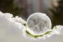 A bolha de sabão congelou-se na geada e transformou-se no gelo fotografia de stock