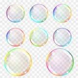 Bolha de sabão Grupo de bolhas transparentes coloridos com brilhos ilustração stock