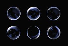 Bolha de sabão transparente realística no fundo preto sabão Imagem de Stock