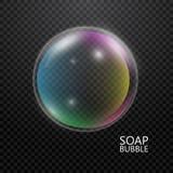 Bolha de vidro da cor isolada no fundo transparente bolha de sabão 3d com reflexão do arco-íris Ilustração do vetor ilustração do vetor