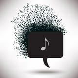 Bolha do discurso alvoroçado com notas musicais Imagens de Stock Royalty Free