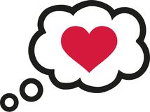 Bolha do discurso com coração - conversa romântica ilustração stock